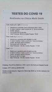 TESTES DO COVID 19